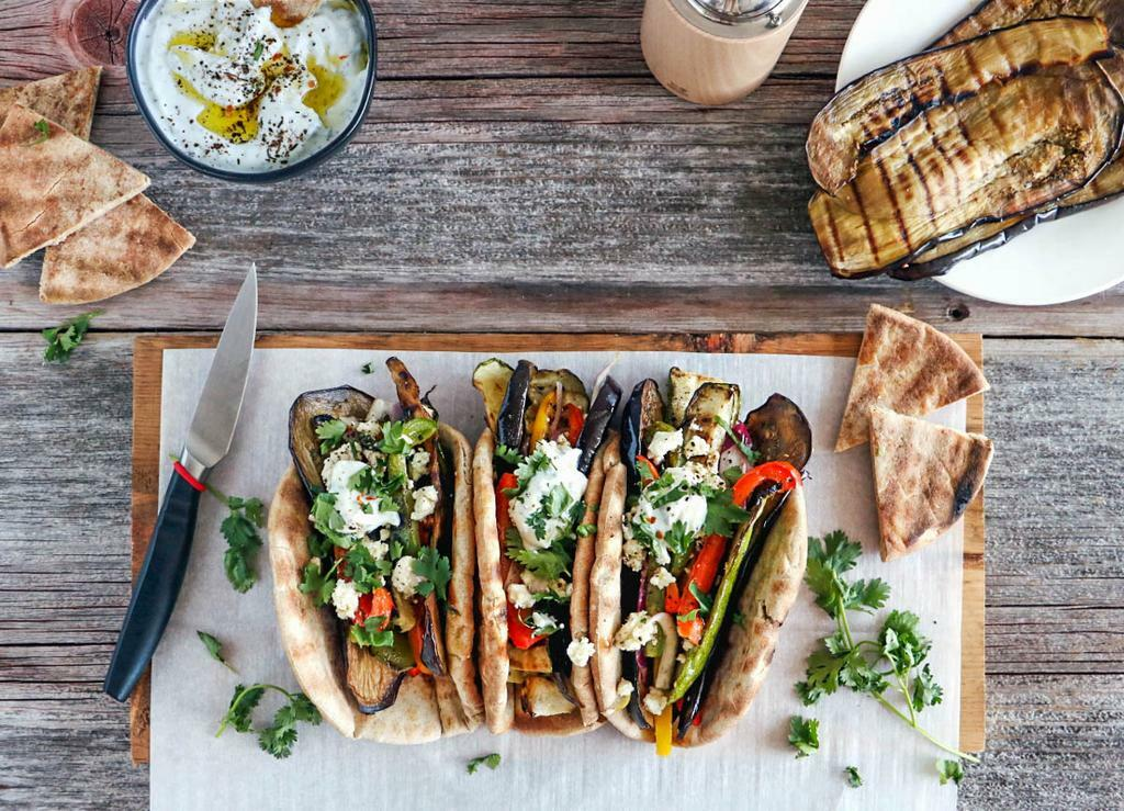 Grilled Vegetable Gyros_landscape-flatlay - Peugeot Saveurs