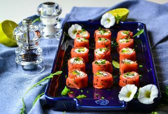 Smoked Salmon Rolls with Avocado and Goat Cheese