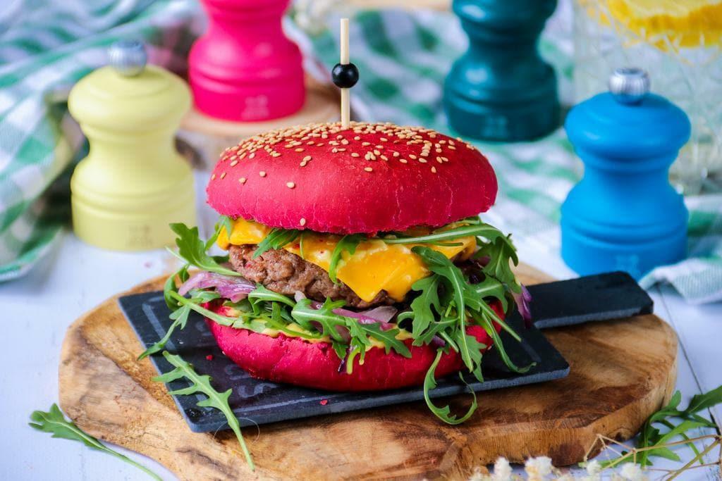 Mardi Gras Pink Burger Buns Peugeot Saveurs